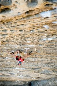 Kai Lightner climbing Southern Smoke, 5.14 in the Red River Gorge, Kentucky.