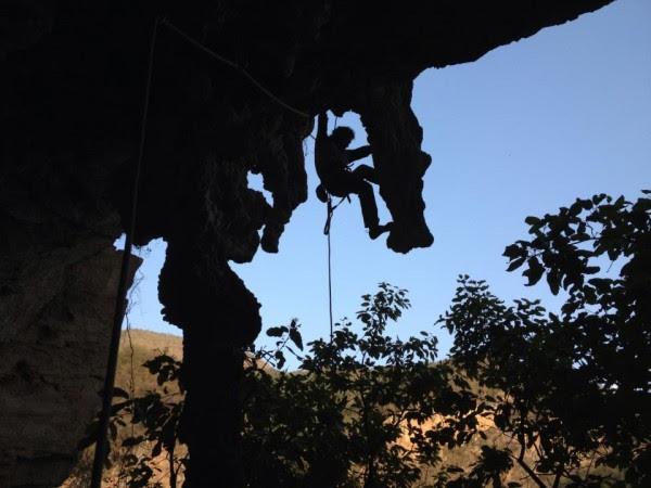 Rodrigo on some big stalactites on Cascabel, 5.11a