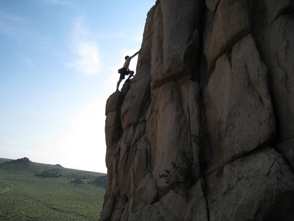 Gunny climbing, Hartman Rocks, Gunnison, Colorado.