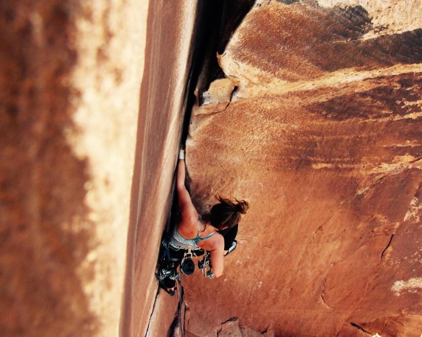The author on Supercrack, Indian Creek, Utah. Photo: Amy Lipschultz